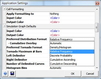Application Settings for Relative Frequency